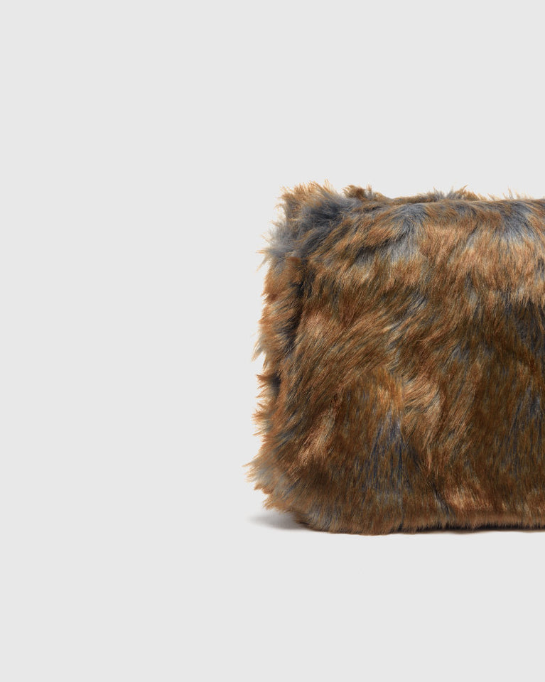 Faux Fur Tote Bag in Brown