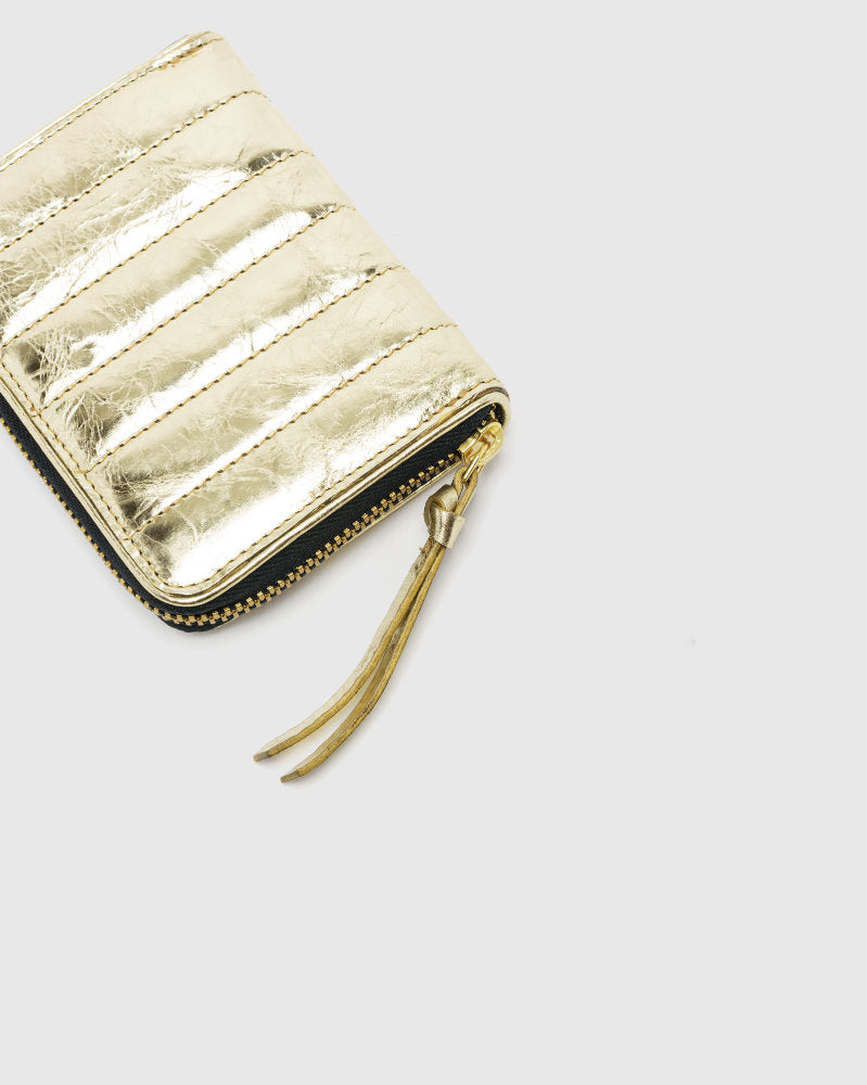 Metallic Crinkle Leather Wallet in Gold