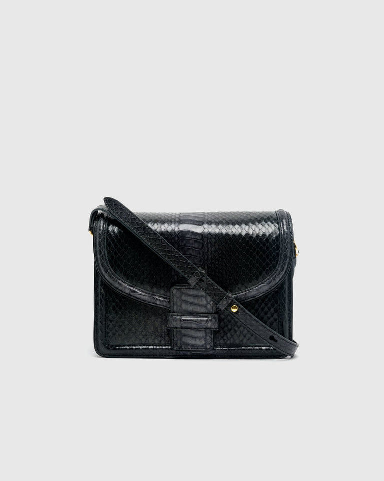 Croc-Embossed Leather Bag in Black