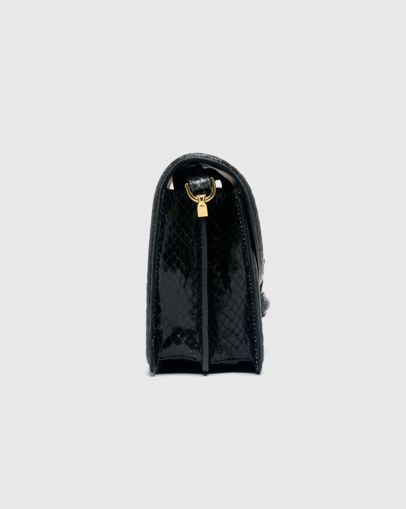 Croc-Embossed Leather Bag in Black by Dries Van Noten Woman at Mohawk General Store