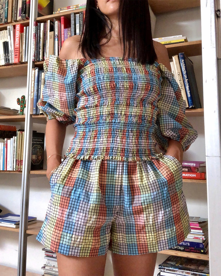 Seersucker Check Top in Multicolor