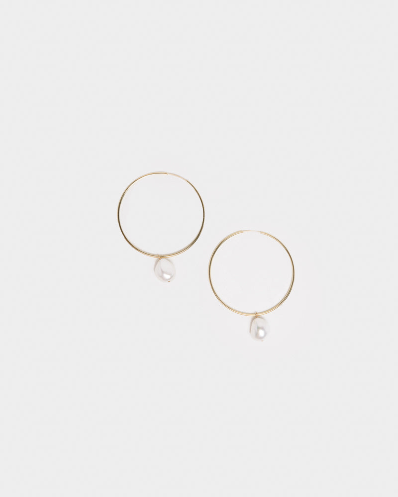 Hoop Earrings with Small Baroque Pearl Charm in 14k Yellow Gold by Grace Lee at Mohawk General Store