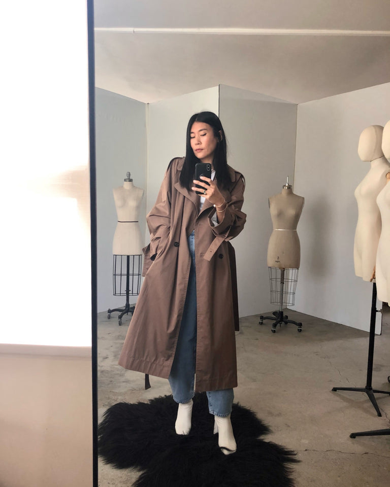 Cotton Trench Coat in Light Brown