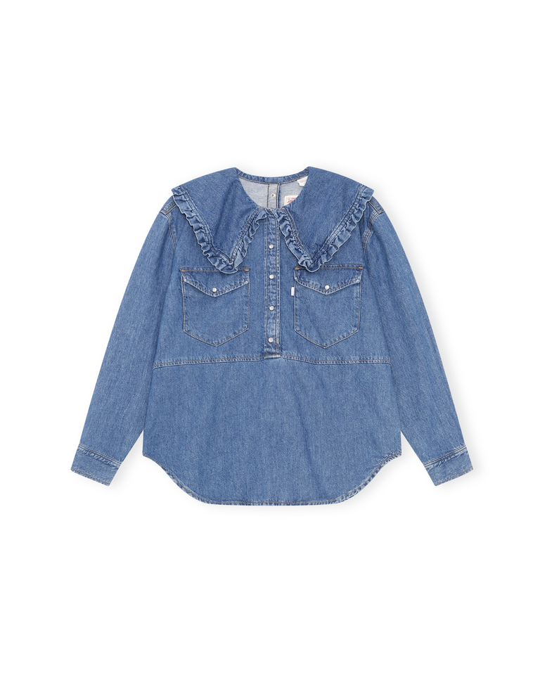 Denim Shirt in Medium Indigo Denim