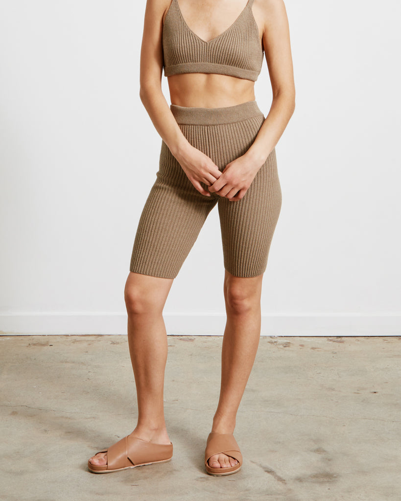 Short Ribbed Pants in Taupe
