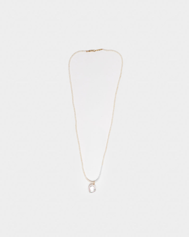 Pearl Seed Necklace with Small Baroque Pearl Charm in 14k Yellow Gold