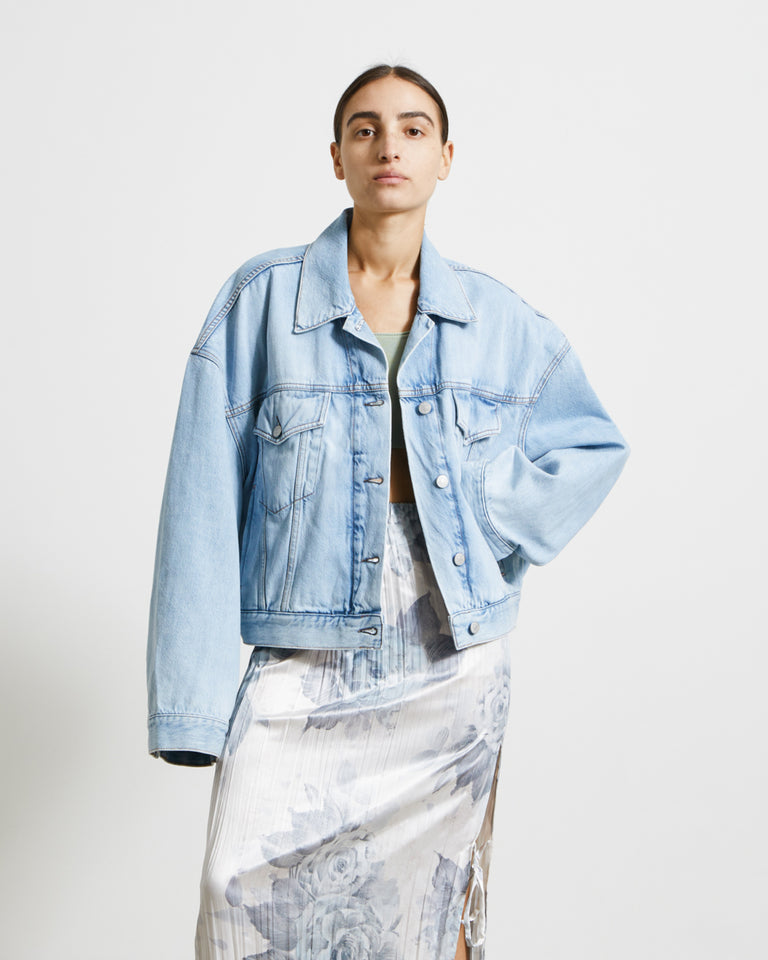 Morris Cropped Jacket in Light Blue