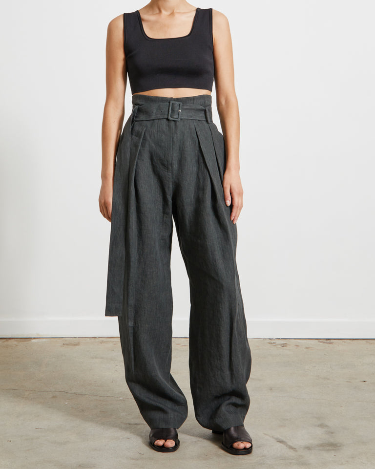 Wide Tuck Pants in Deep Green