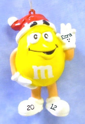 M&M with Santa Hat Yellow