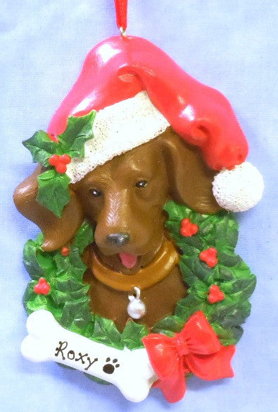 Chocolate Lab in Holiday Wreath