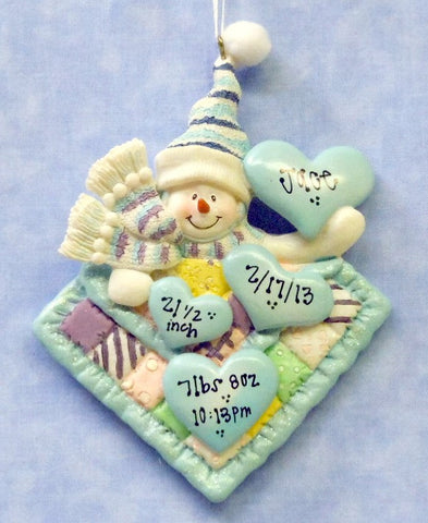Boy Snow Baby Blue Quilt