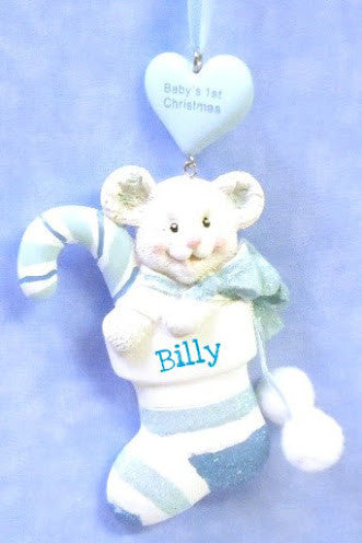 Baby Boy's 1st Christmas Small Bear in Stocking