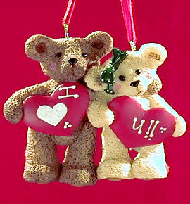 Two Bears Holding Hearts