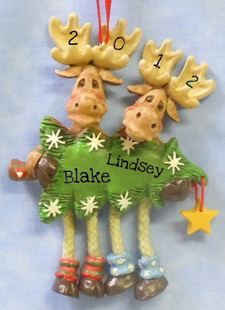 Moose Pair with Christmas Tree