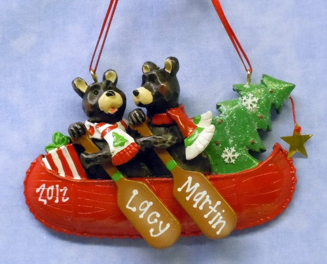 Bear Couple in Canoe with Tree