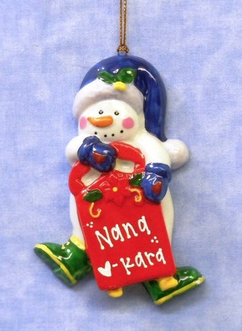 Porcelain Snowman with Sled