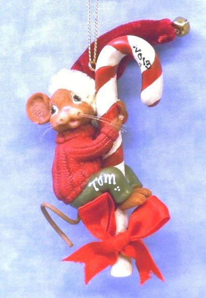 Male Mouse climbing Candy Cane in Red Sweater and Hat
