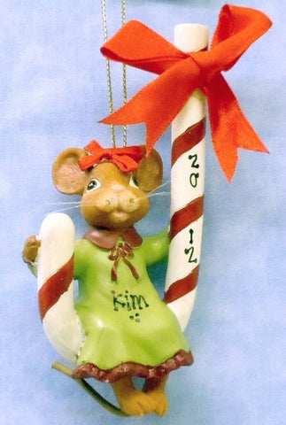 Female Mouse on Candy Cane in Green Dress