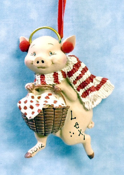Pig with Basket, Earmuffs & Scarf