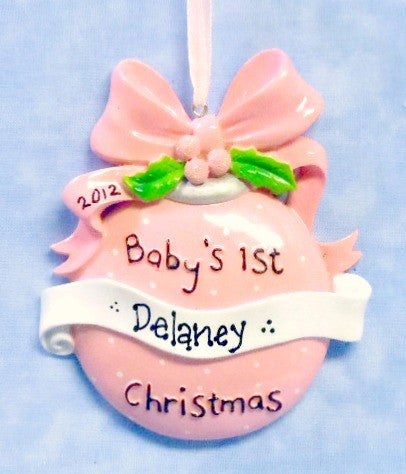 Baby's First Christmas Pink Ornament