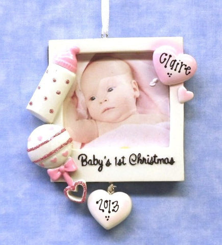 First Christmas Baby Frame Pink