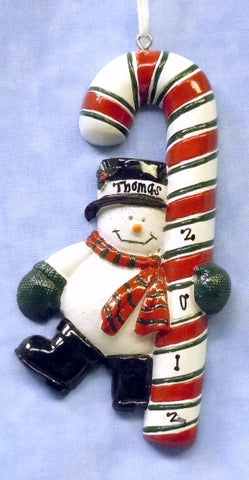 Snowman on Candy Cane