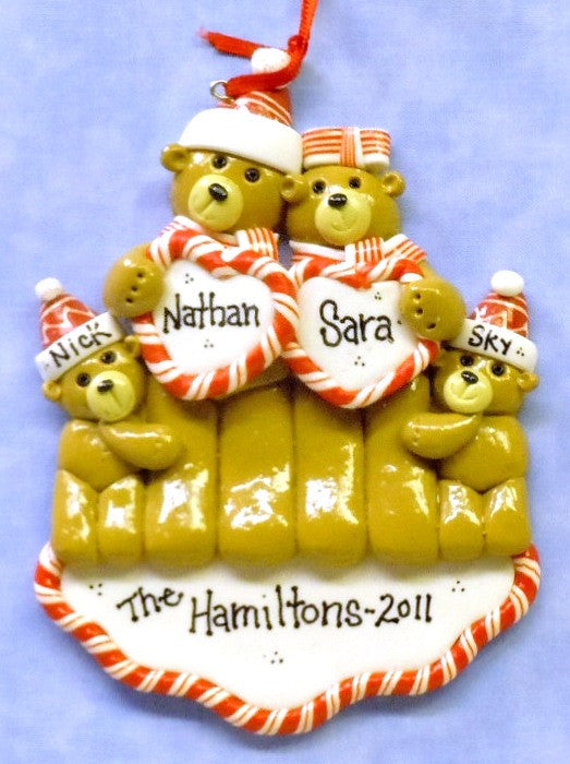 Bear Family of Four with Hearts