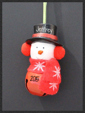 Snowman on Red Bell