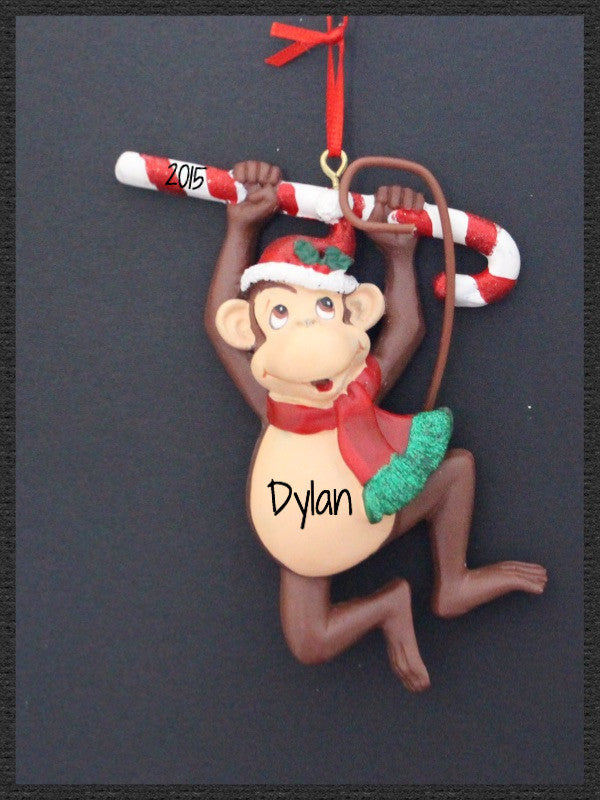 Monkey Hanging From Candy Cane