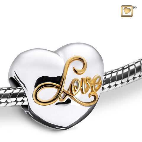 Bead: Spell your Love - Rhodium Plated Gold Vermeil Two Tone