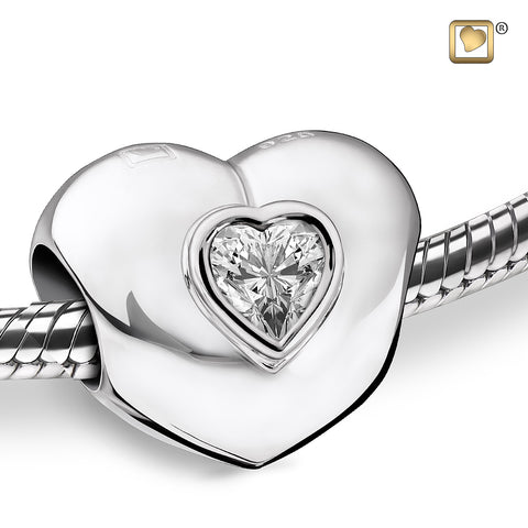 Bead: Heart to Heart - Rhodium Plated w/Clear Crystal