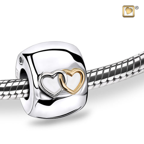 Bead: Entwined Hearts - Rhodium Plated Gold Vermeil Two Tone