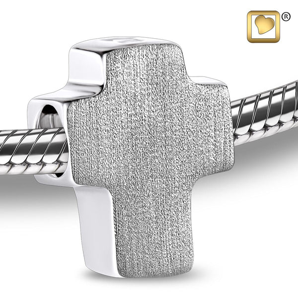 Bead: Cross - Rhodium Plated Two Tone