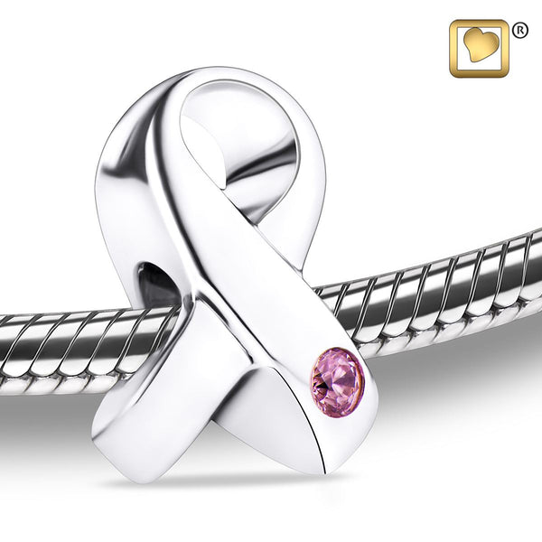 Bead: Awareness - Rhodium Plated w/Pink Crystal
