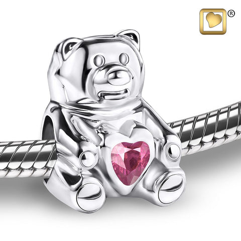Bead: CuddleBear - Rhodium Plated w/Pink Crystal