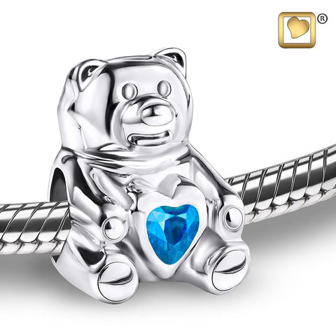 Bead: CuddleBear - Rhodium Plated w/Blue Crystal