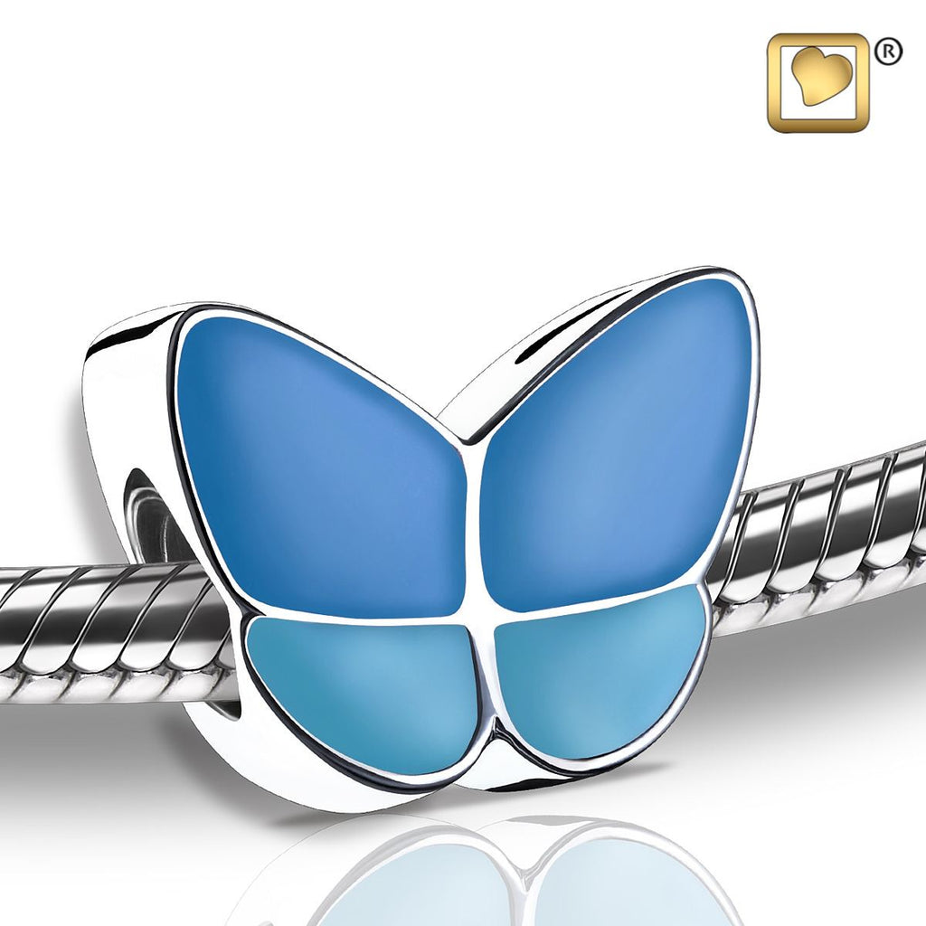 Bead: Wings Of Hope Blue - Enamel Rhodium Plated