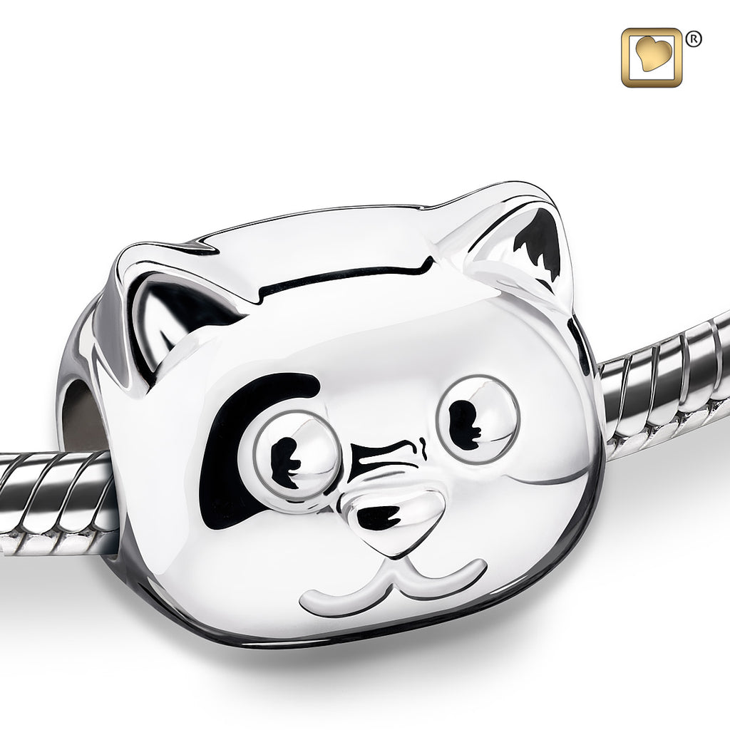 Bead: Cat - Rhodium Plated