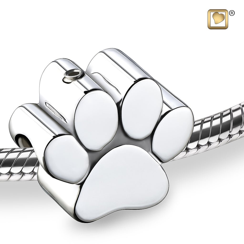Bead: Paw - Rhodium Plated