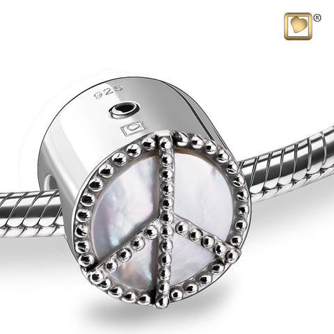 Bead: Peace Mother of Pearl - Rhodium Plated