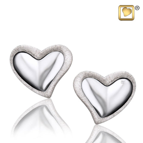 Stud Earrings: Leaning Heart - Rhodium Plated Two Tone
