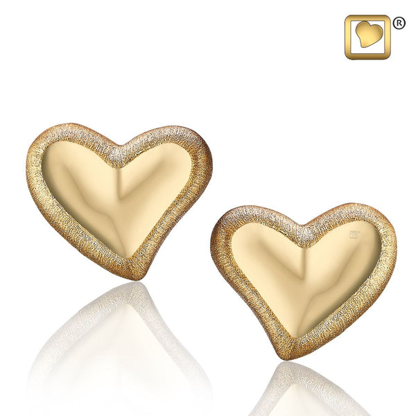 Stud Earrings: Leaning Heart - Gold Vermeil Two Tone