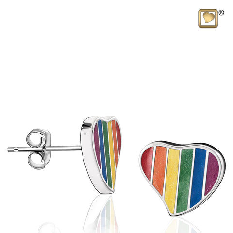 Stud Earrings: Pride Rainbow - Enamel Rhodium Plated