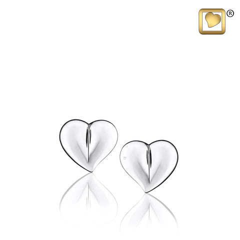 Stud Earrings: LoveHeart - Rhodium Plated