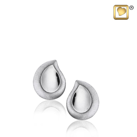 Stud Earrings: TearDrop - Rhodium Plated Two Tone