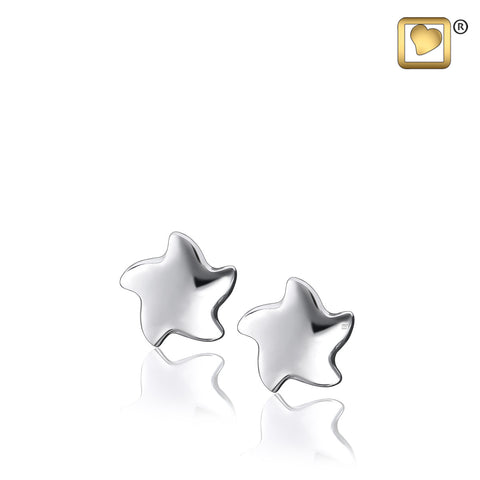Stud Earrings: Angelic Star - Rhodium Plated