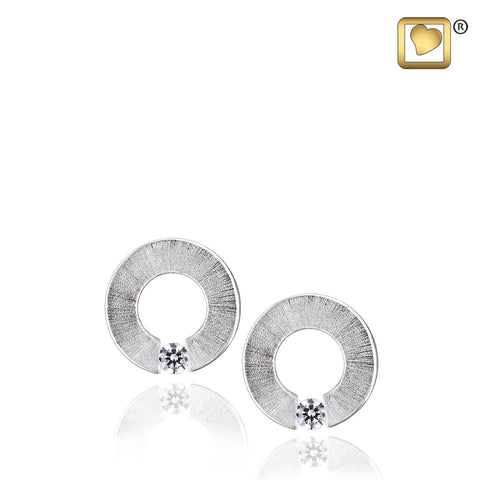 Stud Earrings: Omega - Rhodium Plated Two Tone w/Clear Crystal