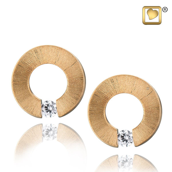 Stud Earrings: Omega - Gold Vermeil Two Tone w/Clear Crystal