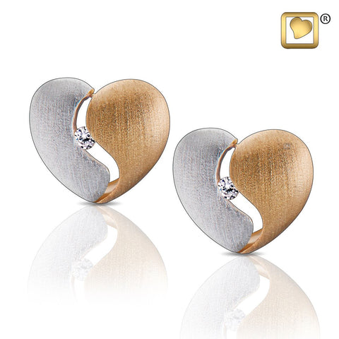 Stud Earrings: Heartfelt - Gold Vermeil Two Tone w/Clear Crystal