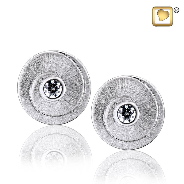 Stud Earrings: Eternity - Rhodium Plated Two Tone w/Clear Crystal